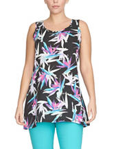 Chaus Birds of Paradise Black Floral Print Top