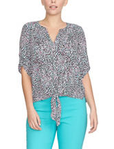 Chaus Dot Print Tie Front Woven Top