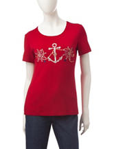 Rebecca Malone Embellished Nautical Embroidered Top