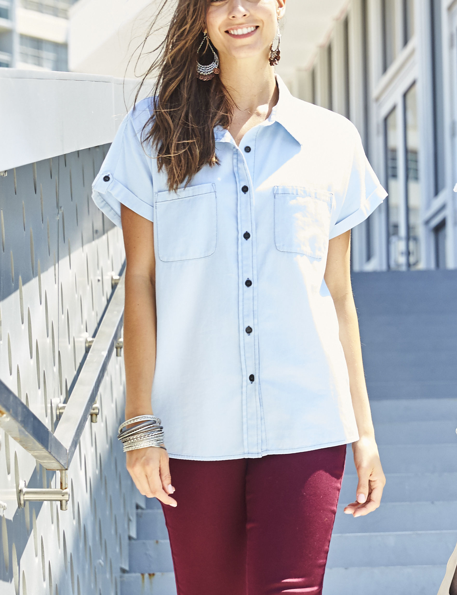 Hannah Light Blue Shirts & Blouses