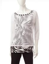 Ruby Rd. Mesh Palm Print Layered-Look Top
