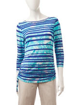 Ruby Rd. Tropical Striped Print Ruched Top