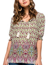 Skyes The Limit Paisley Print Peasant Top