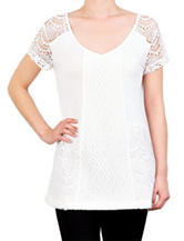 Skyes The Limit Mixed Lace Knit Top