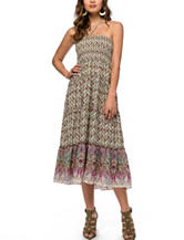 Skyes The Limit Smocked Paisley Print Midi Dress