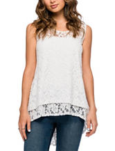 Skyes the Limit White Hi-Lo Lace Top