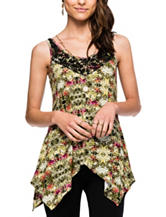 Skyes The Limit Tropical Print Lace Up Top