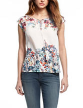 Vintage America Blues Multicolor Floral Print Top