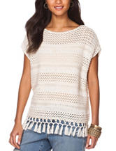 Chaps Crochet Fringe Knit Sweater