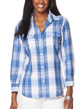 Chaps Blue & White Plaid Print Top