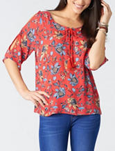 Democracy Floral Print Lace Up Top
