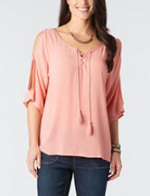 Democracy Cold Shoulder Crochet Accent Top