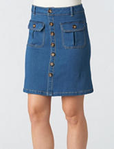 Democracy Medium Wash Button Front Skirt