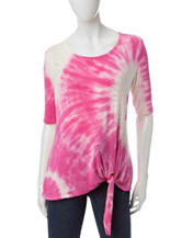 Onque Casuals Tie Dye Tie Front Top