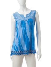 Energé Wood Washed Lace Trim Top