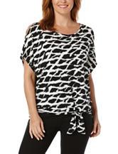Rafaella Black & White Abstract Print Tie Front Top