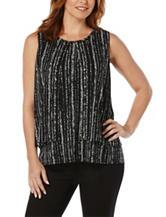 Rafaella Striped Dot Print Knit Top