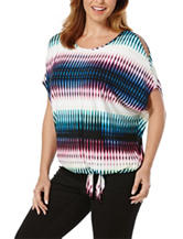 Rafaella Multicolor Cold Shoulder Tie Front Top