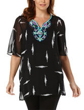 Rafaella Abstract Print Embroidered Layered-Look Top