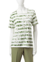 Alfred Dunner Embroidered Floral Striped Top