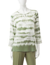 Alfred Dunner Tie Dye Print Lace Accent Top