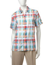 Alfred Dunner Plaid Burnout Woven Top