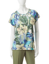 Alfred Dunner Tropical Print Lattice Knit Top