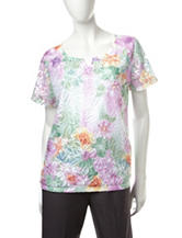 Alfred Dunner Floral Lace Top