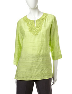 Alfred Dunner Embellished Woven Tunic Top