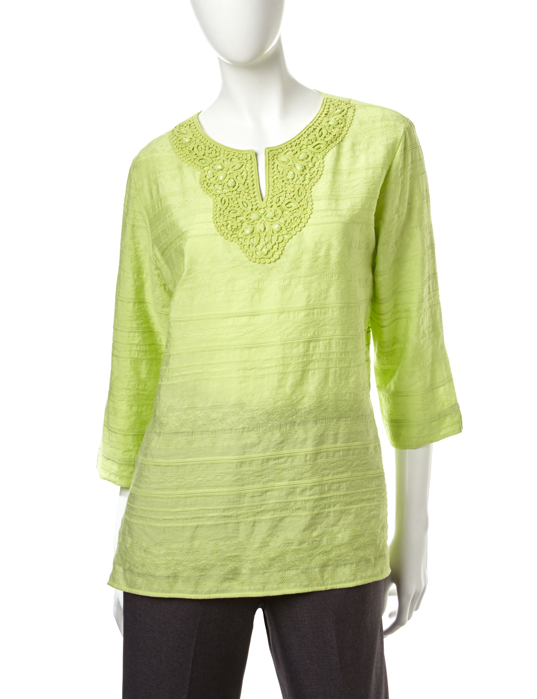 Alfred Dunner Green Shirts & Blouses