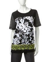 Alfred Dunner Tropical Print Lace Knit Top