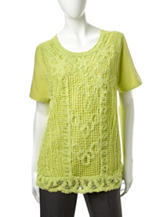 Alfred Dunner Crochet Front Knit Top