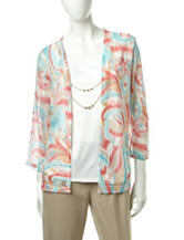 Alfred Dunner Abstract Print Layered-Look Top