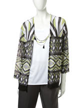 Alfred Dunner Geometric Print Layered-Look Top