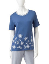 Alfred Dunner Floral Appliqué Knit Top
