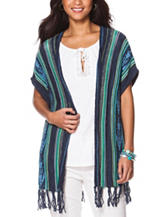 Chaps Striped Fringe Knit Vest