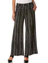 Rafaella Striped Dot Print Wide Leg Pants