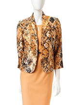Kasper Snake Print Collarless Jacket