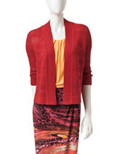 Kasper Red Open Knit Cardigan