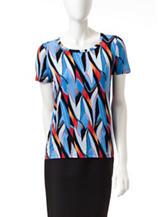 Kasper Abstract Print Knit Top