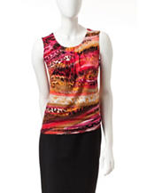Kasper Multicolor Animal Print Pleated Top