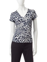 Ruby Rd. Animal Print Knit Top