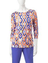 Ruby Rd. Ikat Print Ruched Knit Top