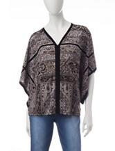 Energé Mixed Print Poncho Style Top