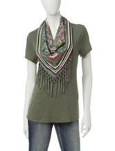 Energé 2-pc. Fringe Scarf & Knit Top Set