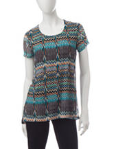 Hannah Chevron Print Hi-Lo Knit Top