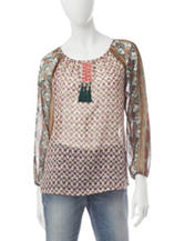 Hannah Mixed Print Tassel Accent Top