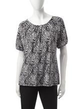 Rebecca Malone Rosette Print Knit Top