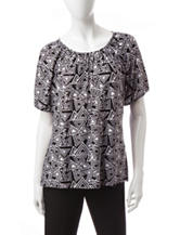 Rebecca Malone Abstract Print Knit Top