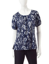 Rebecca Malone Floral Print Knit Top